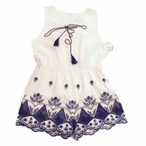NWT J.O.A. White and Navy Embroidered Romper XL